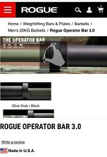 Rogue Ohio Bar Operator 3.0  Ceracote Military Green  Olympic Barbell New!
