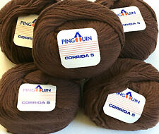 New ListingLot 5 skeins Pingouin Corrida Vintage 60% Cotton Knitting Crocheting Yarn Brown