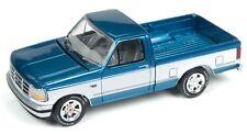 Johnny Lightning 1/64 1993 Ford F-150 Pickup Blue w/White Die-Cast Car JLCG004