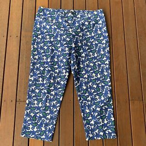 Sportscraft Size 16 White Blue Floral Pants Stretch High Waist Casual Cocktail