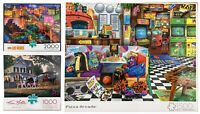 Buffalo Jigsaw Puzzles Lot 3 Las Vegas 2000 ~Kim Norlien 1000~ Pizza Arcade 1500