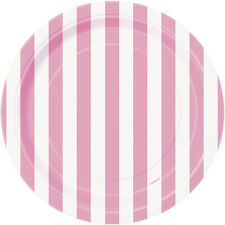 LOVELY PINK STRIPES SMALL PAPER PLATES (8) ~ Birthday Party Supplies Cake White