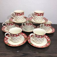 Charlton Hall Poinsettia & Horn Classic Traditions Tea Cup & Saucer Lot Of 5 + 2