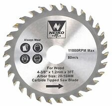 """NEIKO 10771A - 4-3/8"""" x 30 Tooth Carbide Tipped wood Saw Blade - New"""