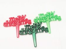 12 Merry Christmas Cupcake Toppers - Picks Cake Candy Cookie Decorations