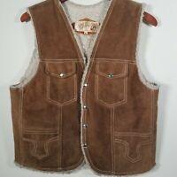 70s Vintage Vince Lee  Sherpa Vest Made In USA Mens Size 40