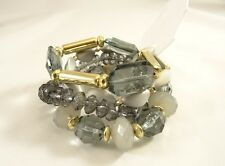 New 4 Piece Stretch Bracelet Set In Gray & Gold Colors  NWT #B1410