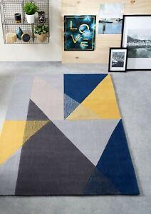 Origins Trio Barely Any Shed Block Colour Geo Contemporary Rug 80x 150cm Navy