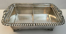 Reed & Barton Staffordshire Footed Rectangular Silverplate Double Serving #6207