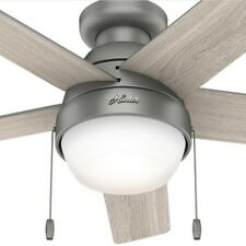"""48"""" Contemporary Rustic Matte Silver Grey Ceiling Fan with LED Light Flush Mount"""