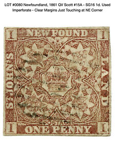 0080: Newfoundland, 1861 QV Scott #15A - SG16 1d. Used