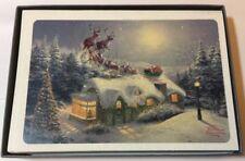 Hallmark Thomas Kinkade Cottage Santa Sleigh Glitter 16 Boxed Christmas Cards