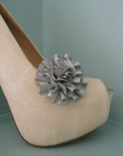 2 Small Silver Rosette style Clips for Shoes