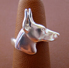 Sterling Silver Doberman Pincher Head Study Ring