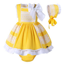 Infant Baby Girls Easter Dress Yellow Sleeveless Lace Dress With Bonnet 6m-24m
