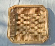 Square Brown Rattan Wicker Basket Wall Hanging Catch All