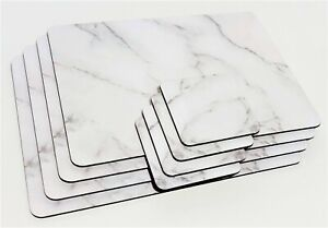 Set of 4 Marble Effect White Grey Table Placemats Coasters Dining Cork Mats