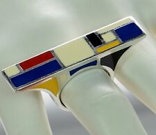 Flli Menegatti Solid 925 Sterling Silver Picasso Style Ring Sz-8 `