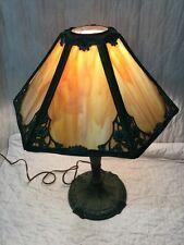 Antique Art Nouveau Panel Slag Glass Lamp Best Original Paint Cast Iron Base B&H