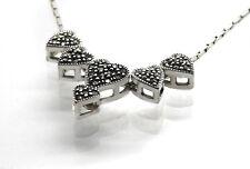 Silberkette 925 rhodiniert mit beweglichen Markasit Herzen 42 cm Valentinstag