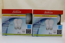 SUNBEAM 4 LED Warm White 3000K DIMMABLE Light Bulbs COOL TO TOUCH 9.5W=60W