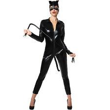 Da Donna Neri Costume Catwoman tuta donna Costume Cosplay Outfit UK 8-16