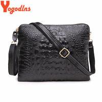 Yogodlns Genuine Leather Women Clutch Vintage Crocodile Pattern Shoulder Bags