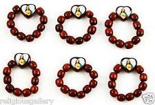 Cherry Wood Prayer Finger Rosary Ring Catholic Religious Gift, Unisex, Lot of 6