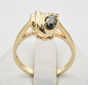 Genuine Sapphire & CZ 14K Yellow Gold Plated Ring Size 7