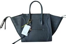 CELINE MEDIUM LUGGAGE PHANTOM TOTE IN NAVY BLUE CROC STAMPED NUBUCK LEATHER -NEW