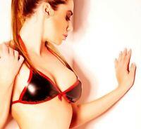 Latex Bikini Style Halter Bra Small Triangle Swim Bow Trims Sexy Customize 0.4mm