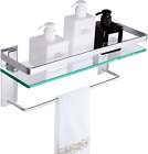 Vdomus Tempered Glass Bathroom Shelf with Towel bar Wall Mounted Shower Storage