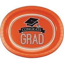 Graduation School Spirit Orange 12-Inch Oval Paper Plates (8 pack)