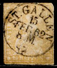 SWITZERLAND: 1858 CLASSIC ERA STAMP SCOTT #39 ST. GALLEN CDS CV$65