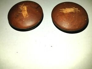 DS-Vintage Style OOAK #2264 Pair of Printed Wood wood charms w stained back 2.25 x 38  18 thick