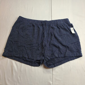 Old Navy Women Sz XXL (40 in. MEASURED) Linen Tie Short Dark Blue Stripe Shorts