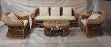 Set lusso 3 posti in banano naturale completo divano,poltrone,tavolino cuscini
