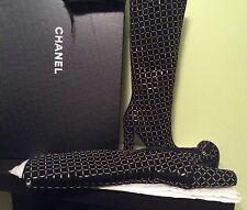 FALL 2015 NIB AUTHENTIC CHANEL SILVER FINE CHAIN EMBALLISHED SUEDE BOOTS Sz 38