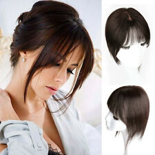 Handmade Straight Clip 100% Remy Human Hair Topper Hairpiece with 3D Flat Bangs
