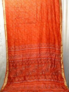 Pure silk Antique Vintage Sari HUCE LOT 4y T25 233 Orange DECOR #ABDHF