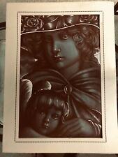"""Vintage JOSEF M. KOZAK Original Artwork """"MOTHER & SON"""" DrawingUnframed Signed"""