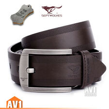 Elegant Men gift. classic Casual Embossing real leather Cow skin Pin Buckle Belt