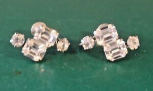 Vintage Silver Tone Kramer N.Y. Rhinestone Screw On Earrings