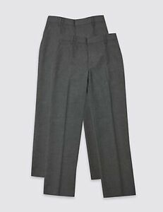 M&S Boys Flat Front Adjustable Waist Grey School Trousers-Multi pack(2) Age 3-4