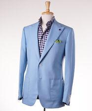 NWT $3695 SARTORIA PARTENOPEA Sky Blue Peak Lapel Wool Suit Slim 40 R (Eu 50)