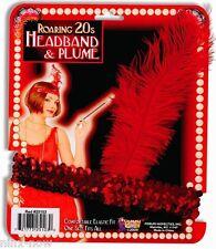 1920s Flapper Gatsby RED feather SEQUIN Headband headpiece Burlesque