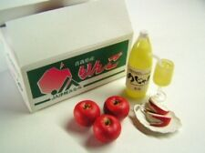 Re-ment Japan local fresh food market delivery 2 #2-box of apples w/ juice NEW