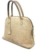 Sac à Main Vintage Style Hermes Manfield Bolide Cuir d'Autruche French Handbag