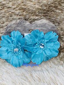 MONSOON duck egg blue STONE & FABRIC 2 X FLOWER HAIRCLIPS bnic