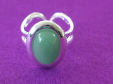 Silver plated ring set with Aventurine cabochon, Prosperity Leadership